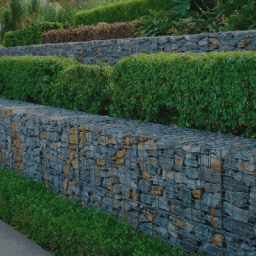A stone wall with hedges on top.